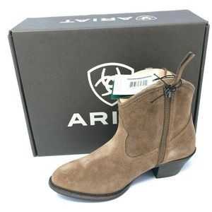 Ariat Duchess Western Ankle Boots SZ 6.5 Tan Suede